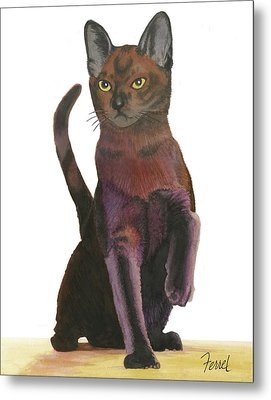 Metal Print featuring the painting Cats Meow by Ferrel Cordle