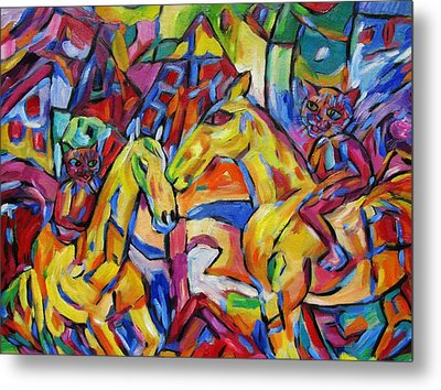 Cats On Horse Intensity Metal Print by Dianne  Connolly