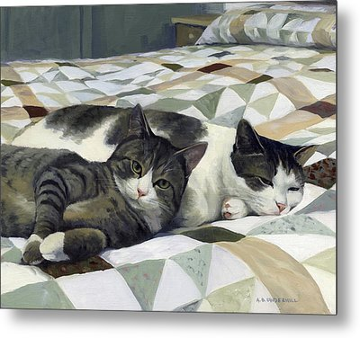 Metal Print featuring the painting Cats On The Quilt by Alecia Underhill