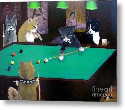 Cats Playing Pool Metal Print by Gail Eisenfeld