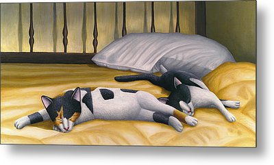Cats Sleeping On Big Bed Metal Print by Carol Wilson