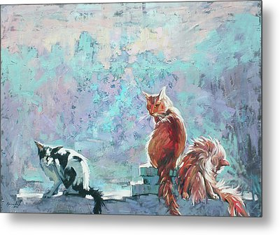Metal Print featuring the painting Cats. Washed By Rain by Anastasija Kraineva