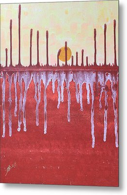 Cattails Original Painting Sold Metal Print