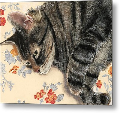 Metal Print featuring the painting Cattitude by Anastasiya Malakhova