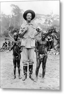 Caucasian Man With Two African Pigmy Metal Print by Everett