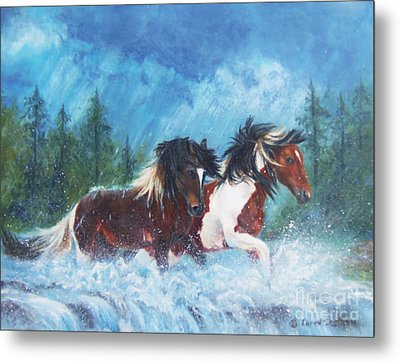 Caught In The Rain  Metal Print by Karen Kennedy Chatham