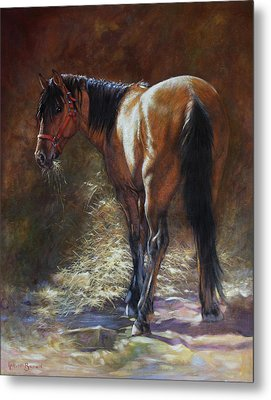 Metal Print featuring the painting Caught With A Mouthful by Harvie Brown