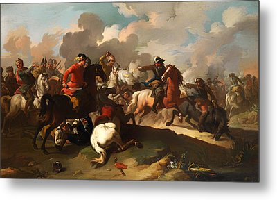 Cavalry Battle Between Christian And Turkish Army Metal Print by Mountain Dreams