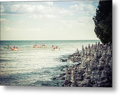 Metal Print featuring the photograph Cave Point Rock Formations by Joel Witmeyer