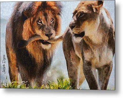 Cecil The Lion And Wife - Da Metal Print by Leonardo Digenio