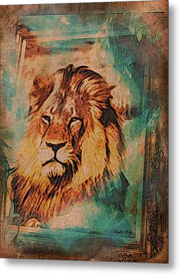 Metal Print featuring the digital art Cecil The Lion by Kathy Kelly