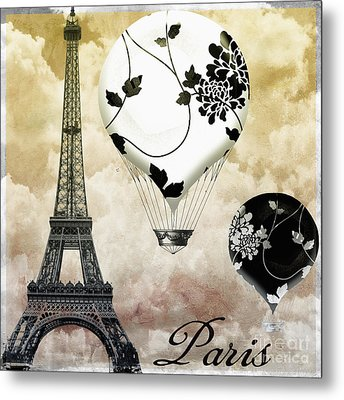 Ceil Jaune II Vintage Hot Air Balloon Metal Print by Mindy Sommers