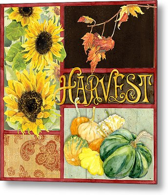 Celebrate Abundance - Harvest Fall Leaves Squash N Sunflowers W Paisleys Metal Print by Audrey Jeanne Roberts