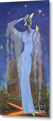 Celestial Bodies -- Fashion Collage Portrait W/ Fabric And Crystals Metal Print