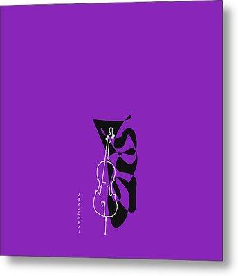 Cello In Purple Metal Print by David Bridburg