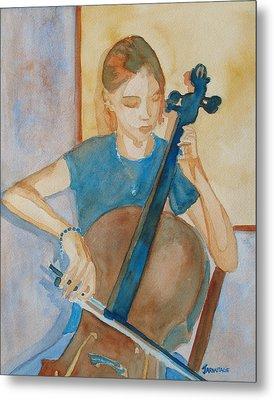 Cello Practice Iv Metal Print by Jenny Armitage