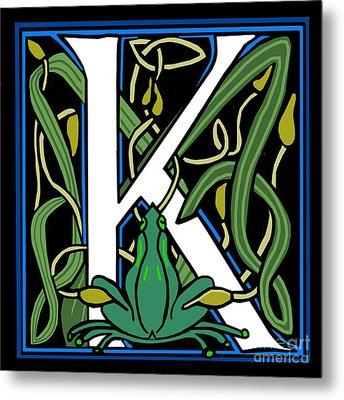 Celt Frog Letter K Metal Print