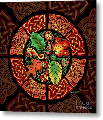 Metal Print featuring the mixed media Celtic Autumn Leaves by Kristen Fox