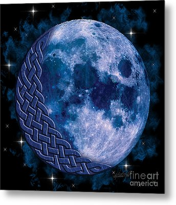 Metal Print featuring the mixed media Celtic Blue Moon by Kristen Fox