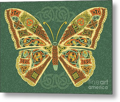 Metal Print featuring the mixed media Celtic Butterfly by Kristen Fox