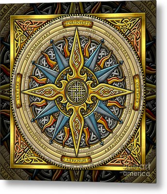 Metal Print featuring the mixed media Celtic Compass by Kristen Fox