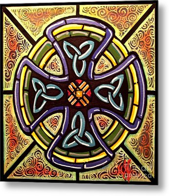 Metal Print featuring the painting Celtic Cross 2 by Jim Harris