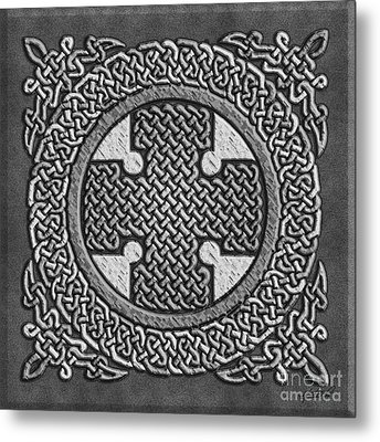 Metal Print featuring the mixed media Celtic Cross by Kristen Fox