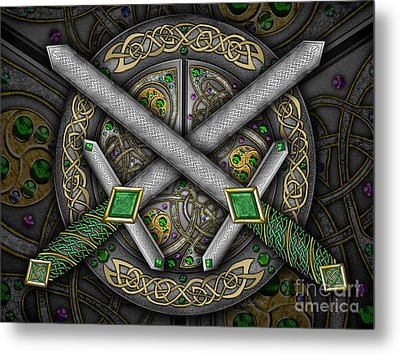 Metal Print featuring the mixed media Celtic Daggers by Kristen Fox