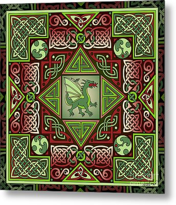 Metal Print featuring the mixed media Celtic Dragon Labyrinth by Kristen Fox