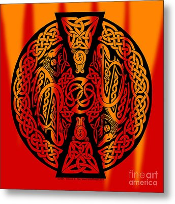 Metal Print featuring the mixed media Celtic Dragons Fire by Kristen Fox