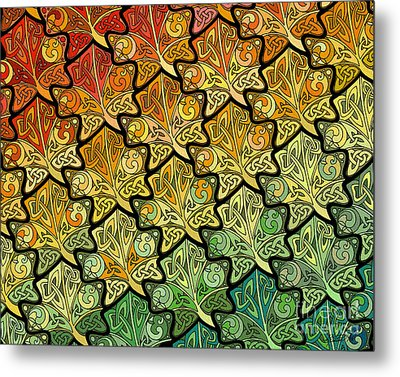 Metal Print featuring the mixed media Celtic Leaf Transformation by Kristen Fox