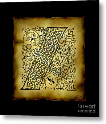 Celtic Letter A Monogram Metal Print