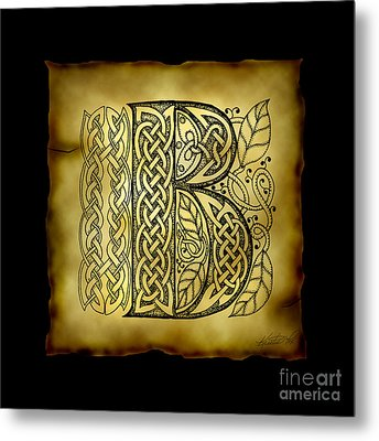 Celtic Letter B Monogram Metal Print