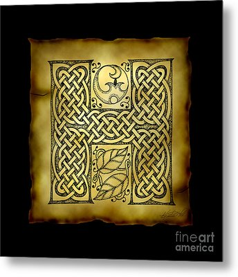 Celtic Letter H Monogram Metal Print