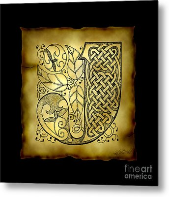Celtic Letter J Monogram Metal Print by Kristen Fox