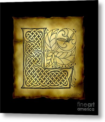 Celtic Letter L Monogram Metal Print