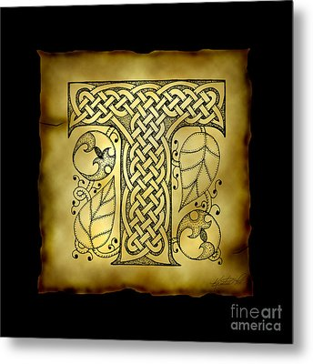 Celtic Letter T Monogram Metal Print