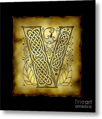 Celtic Letter V Monogram Metal Print