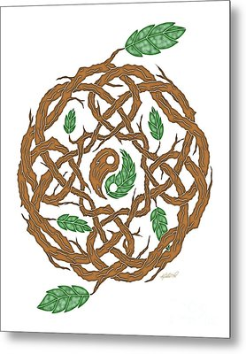 Celtic Nature Yin Yang Metal Print