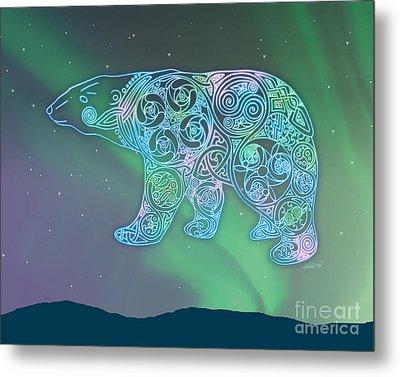 Celtic Polar Bear Metal Print by Kristen Fox
