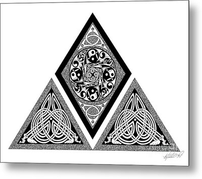 Metal Print featuring the mixed media Celtic Pyramid by Kristen Fox