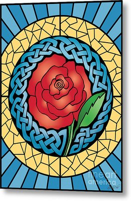 Metal Print featuring the mixed media Celtic Rose Stained Glass by Kristen Fox