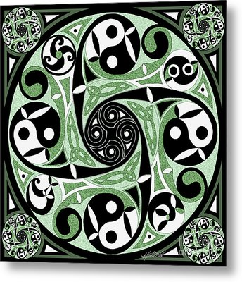 Metal Print featuring the mixed media Celtic Spiral Stepping Stone by Kristen Fox