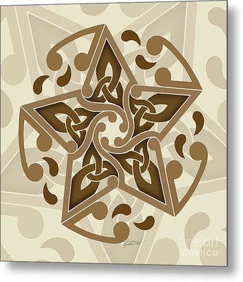 Metal Print featuring the mixed media Celtic Star by Kristen Fox
