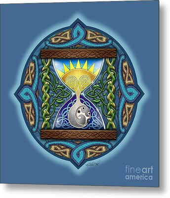 Metal Print featuring the mixed media Celtic Sun Moon Hourglass by Kristen Fox