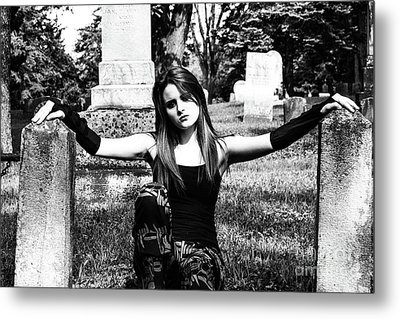 Cemetery Girl Metal Print