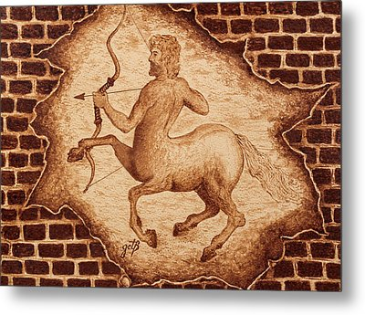 Metal Print featuring the painting Centaur Hunting Original Coffee Painting by Georgeta Blanaru