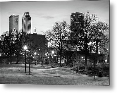 Metal Print featuring the photograph Centennial Park Black And White - Tulsa City Skyline by Gregory Ballos