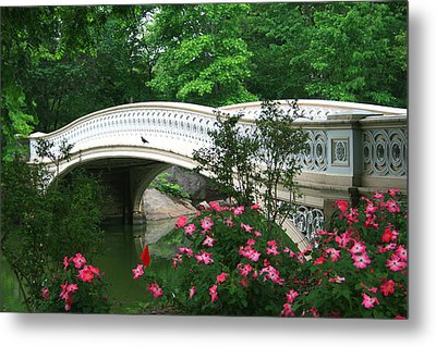 Central Park Bow Bridge In Spring Metal Print by Christopher Kirby