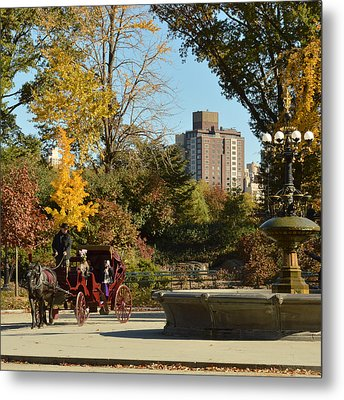 Central Park Carriage Ride Metal Print by Trish Tritz